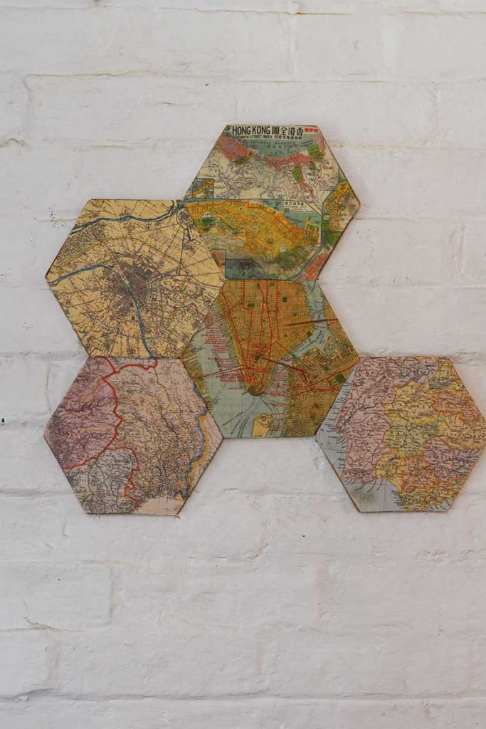 Arranging DIY map corkboard