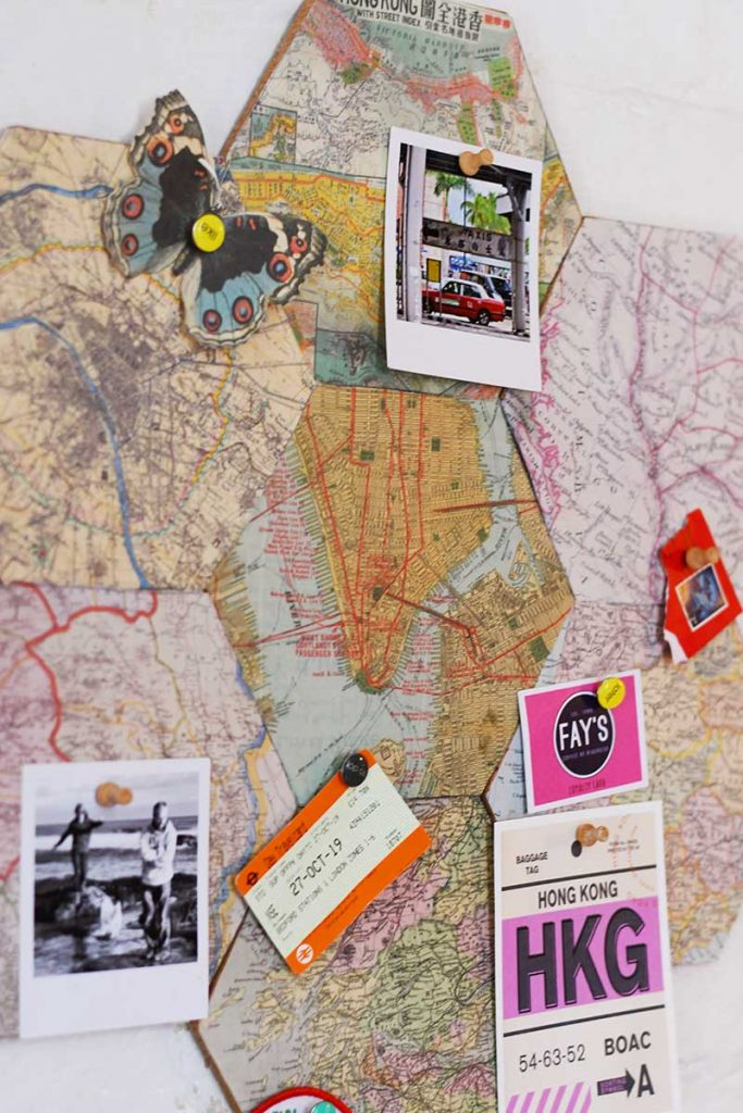 DIY map corkboard close up