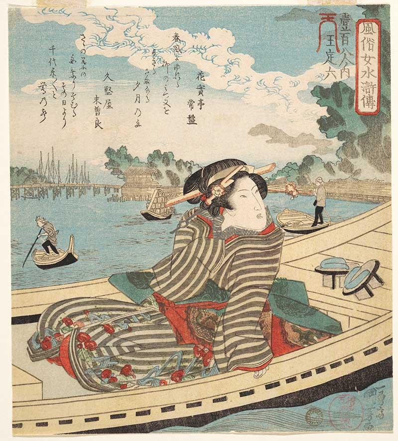 Woman in Boat on Sumida River - Utagawa Kuniyoshi Prints