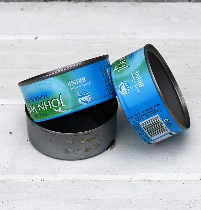 empty tuna cans to upcycle
