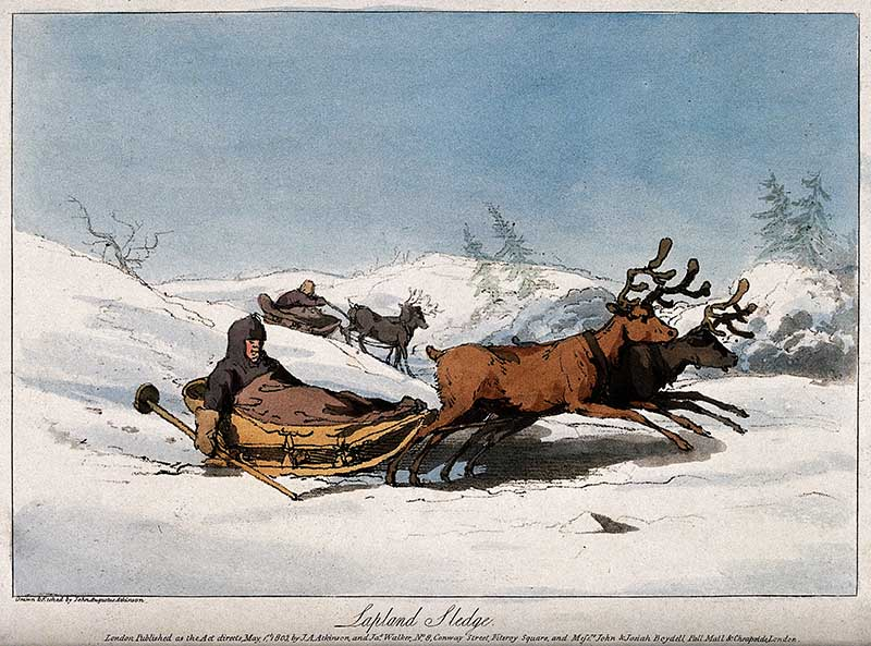 Reindeer are pulling children in sledges across the snowy hills. Coloured aquatint with etching by John Augustus Atkinson