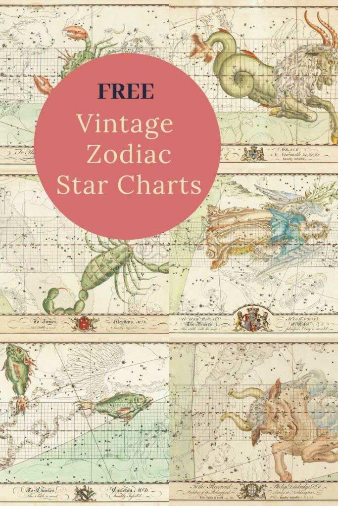 vintage zodiac star charts