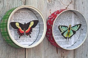 Upcycled DIY Christmas butterfly ornament