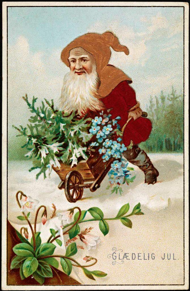 Scandinavian Gnome illustration with wheelbarrow