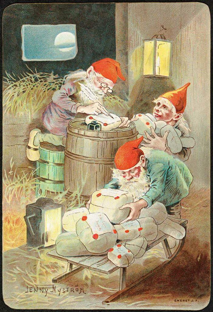 vintage Nisse gnome illustrations