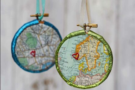 embroidered map ornaments