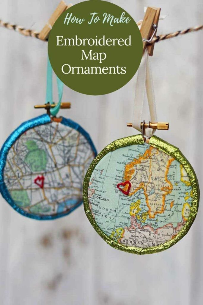 Embroidered Map Christmas ornaments