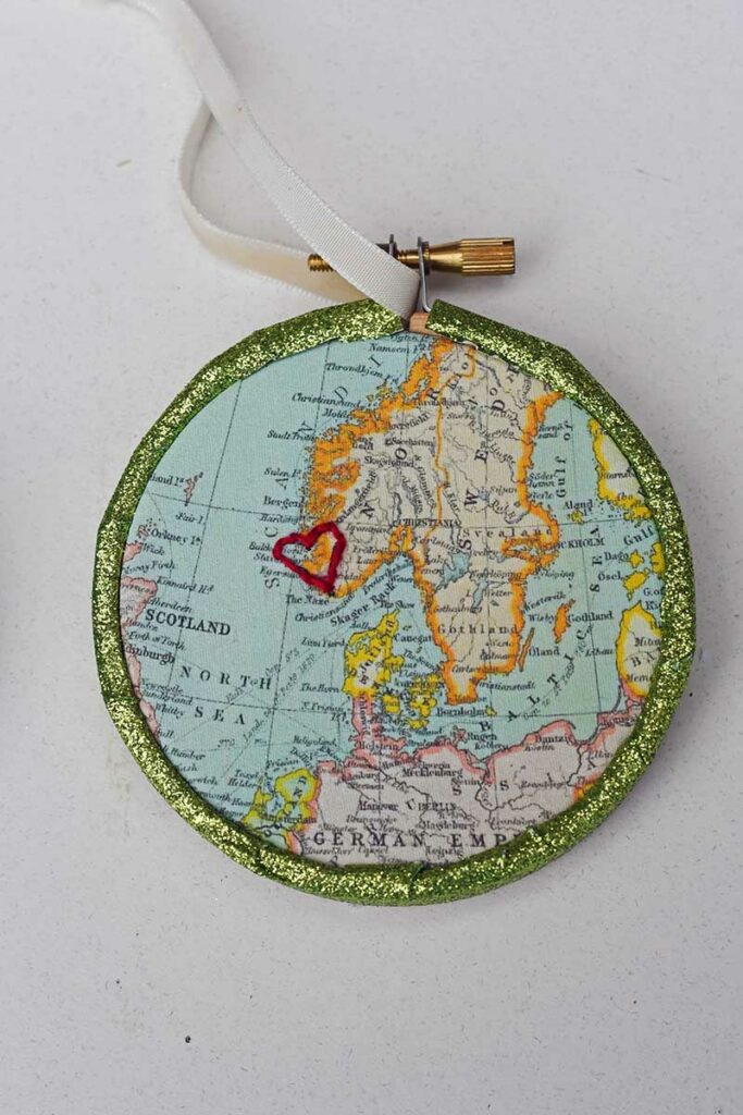 embroidered map ornament