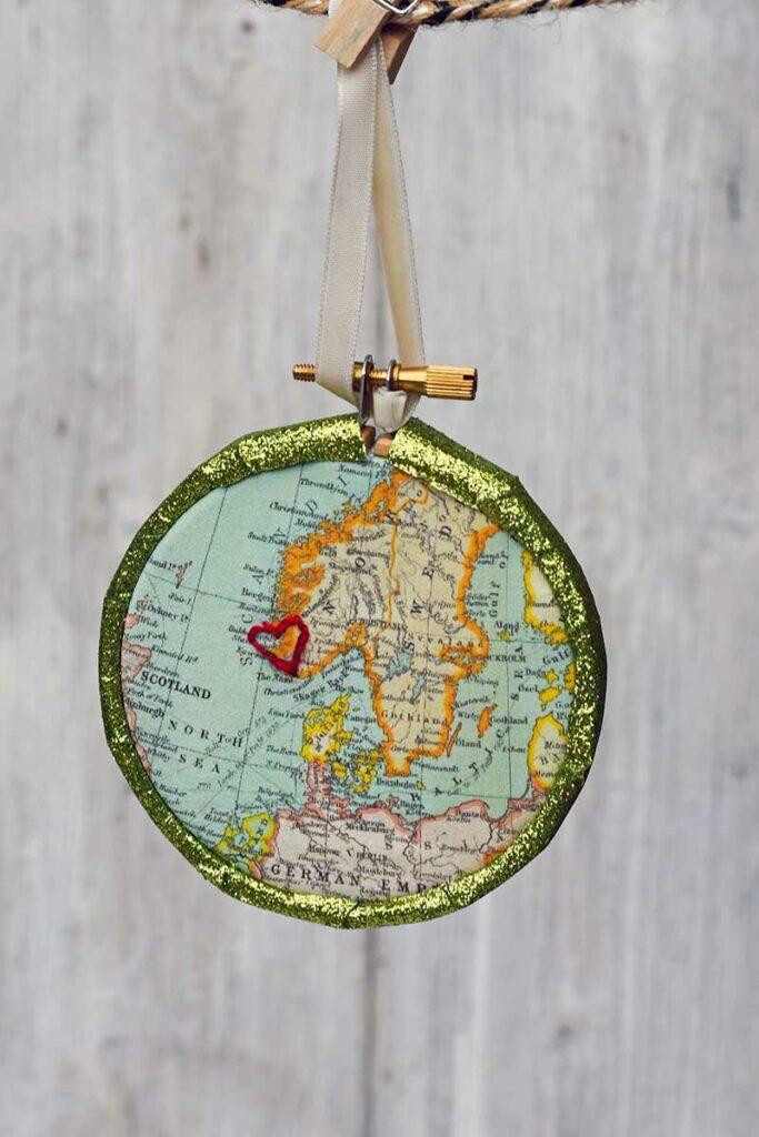 handmade map bauble