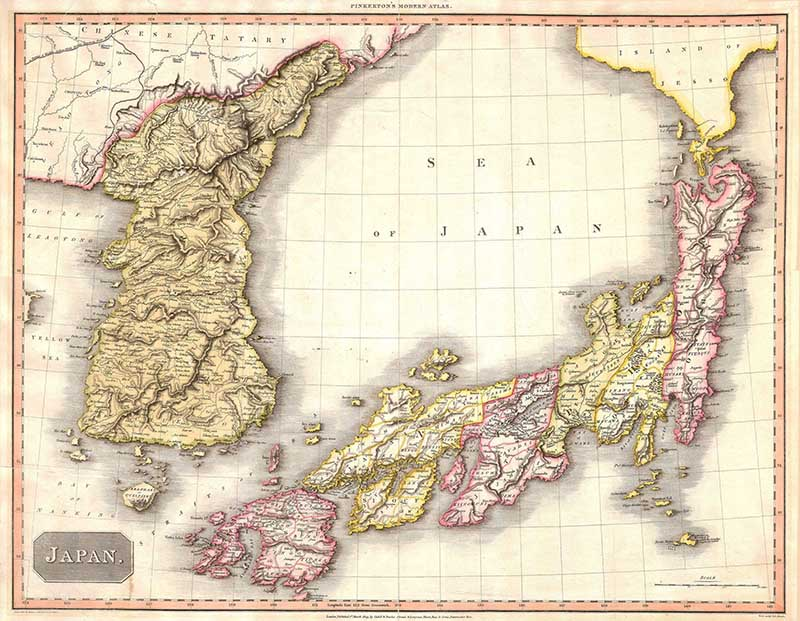 1809 Pinkerton Map of Japan and Korea