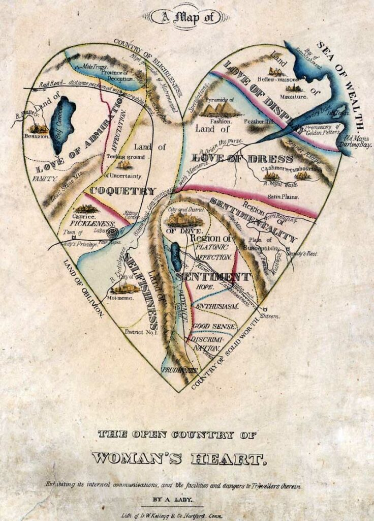 Maps of love map of a womans heart