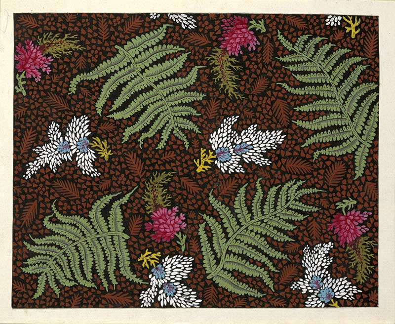 Four green ferns, four red flowers, four blue and white flowers against black background