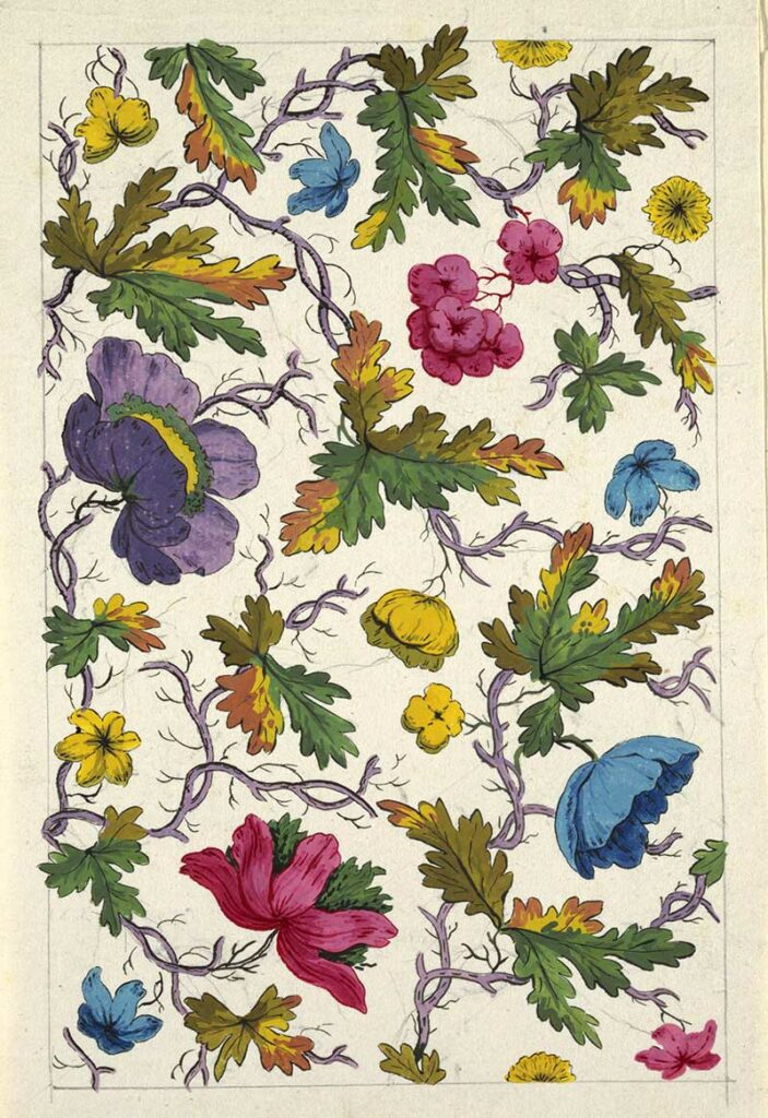 Multi-colored flowers, green and yellow leaves on lilac branches,