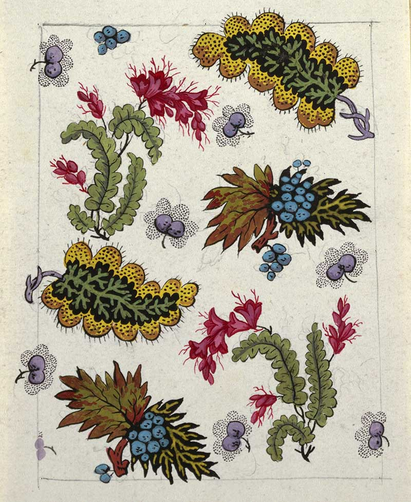Multi-colored leaf and berry design