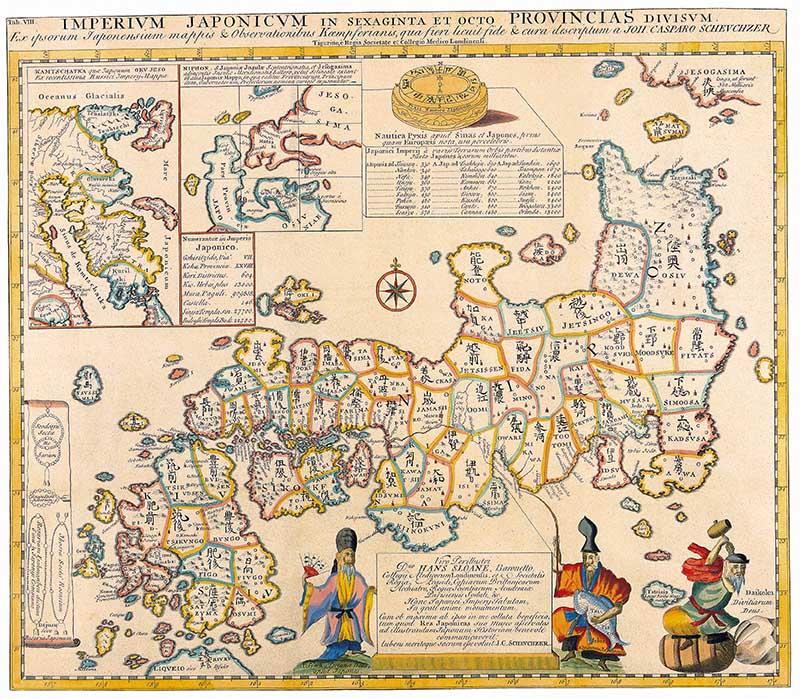 Antique Maps of the World Map of Japan Engelbert Kaempfer c 1727