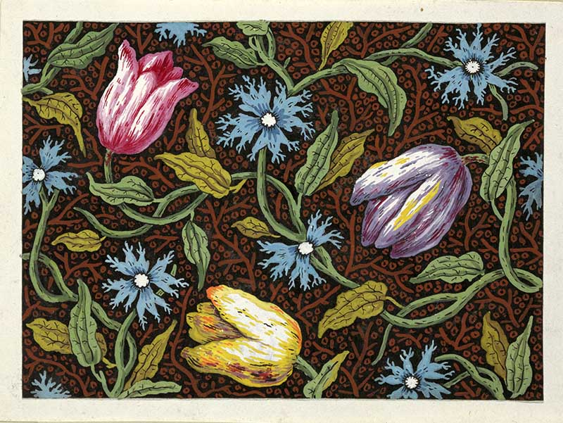 vintage floral patterns Pink, purple and yellow tulips
