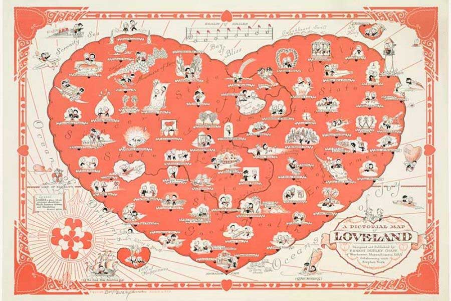 vintage maps of love and marriage