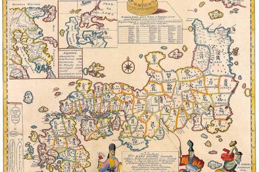 vintage maps of japan