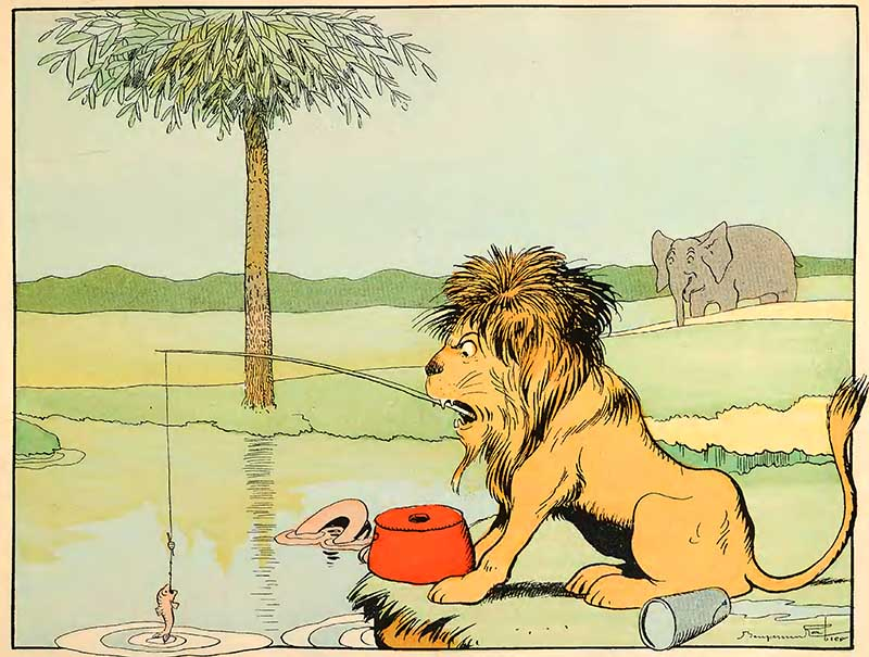 lion who swallowed a fisherman