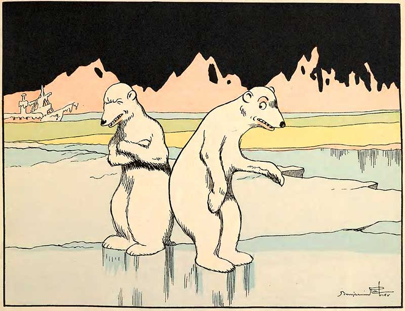 Benjamin Rabier Illustration of two polar bears