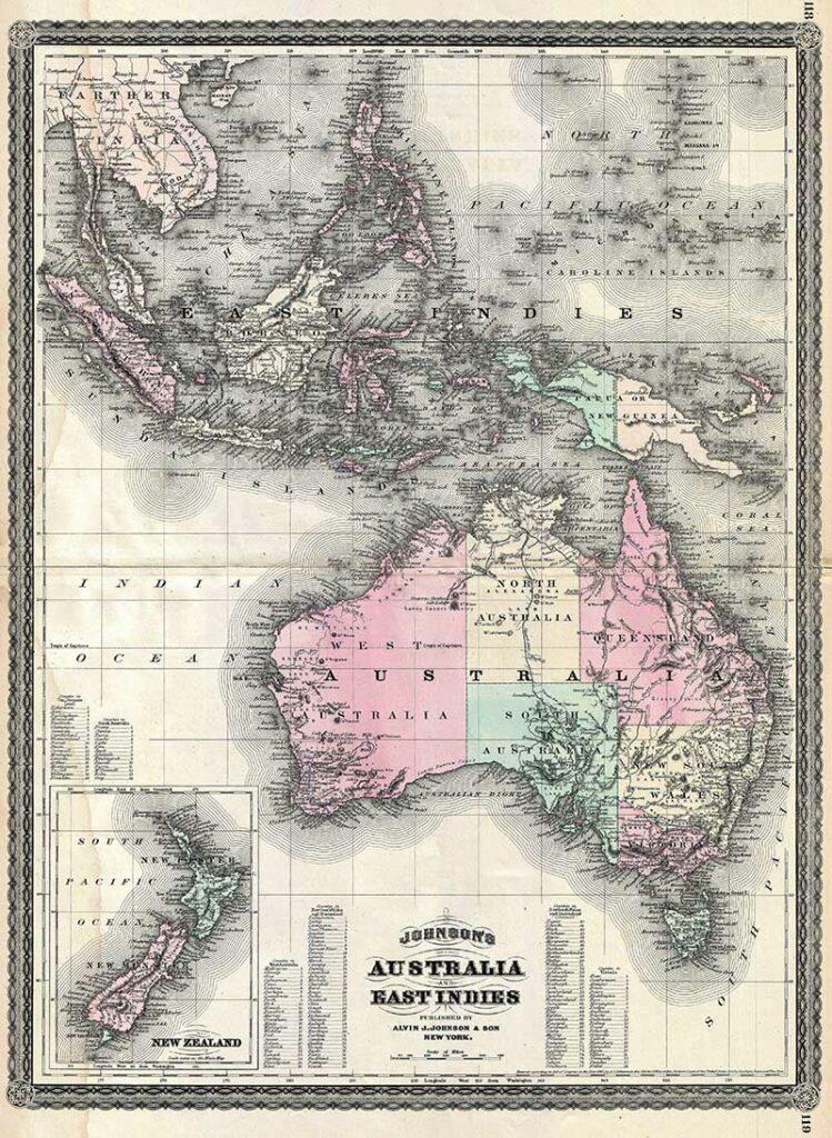 1870 Johnson Map of Australasia