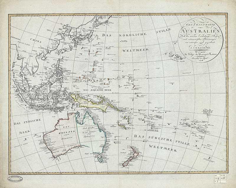 Vintage map of Australasia