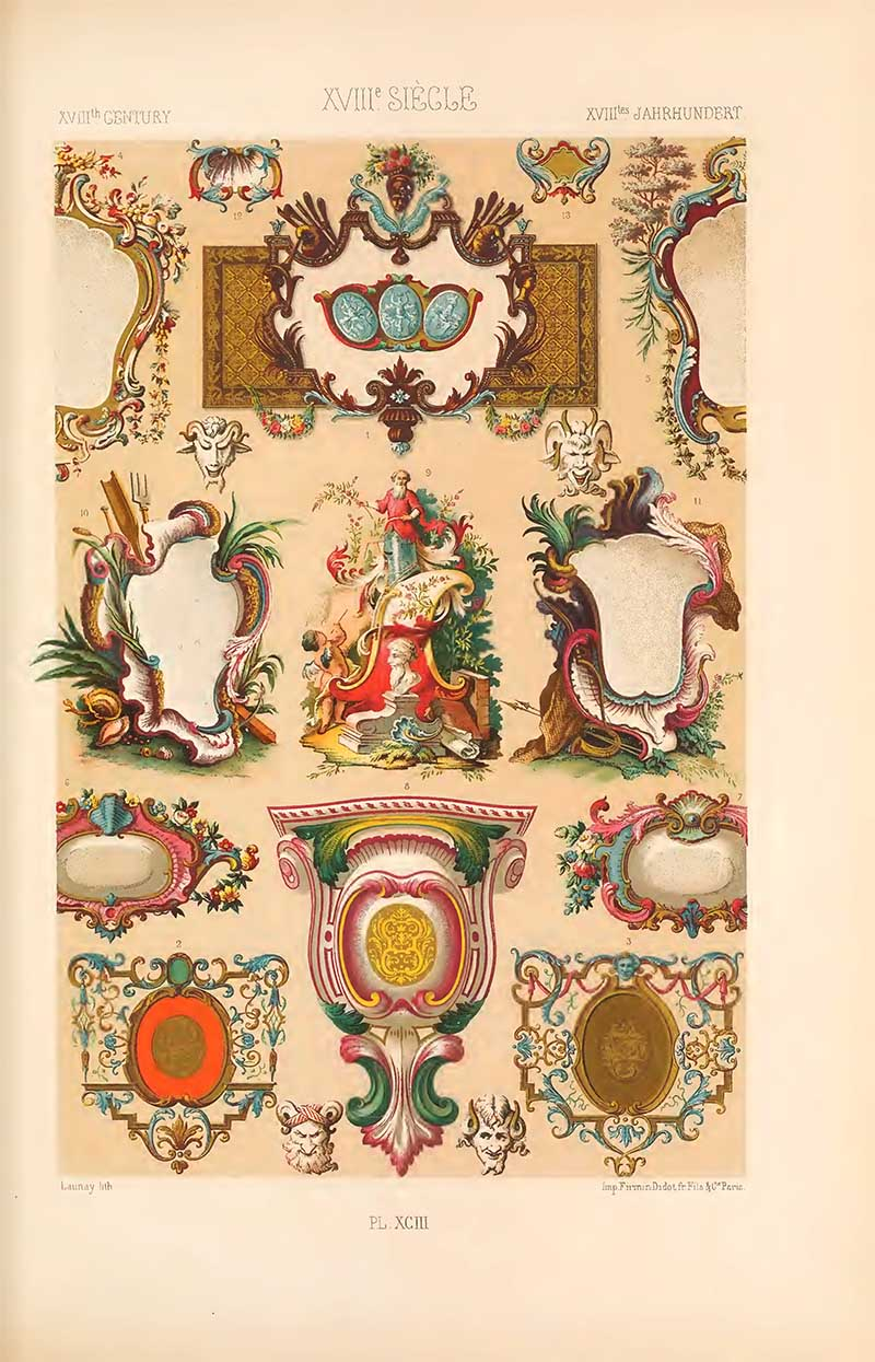 Eighteenth century cartouches from L'Ornement Polychrome