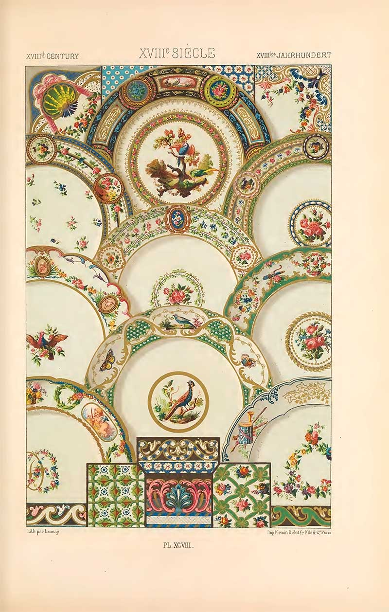 Patterns for Porcelain from Albert Racinet's L'Ornement Polychrome