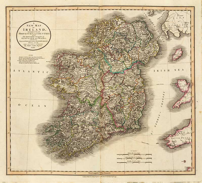 1799 Cary Map Of Ireland