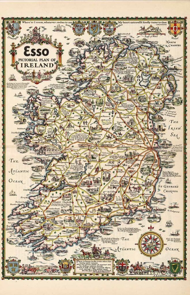 1933 Esso Pictorial Plan of Ireland