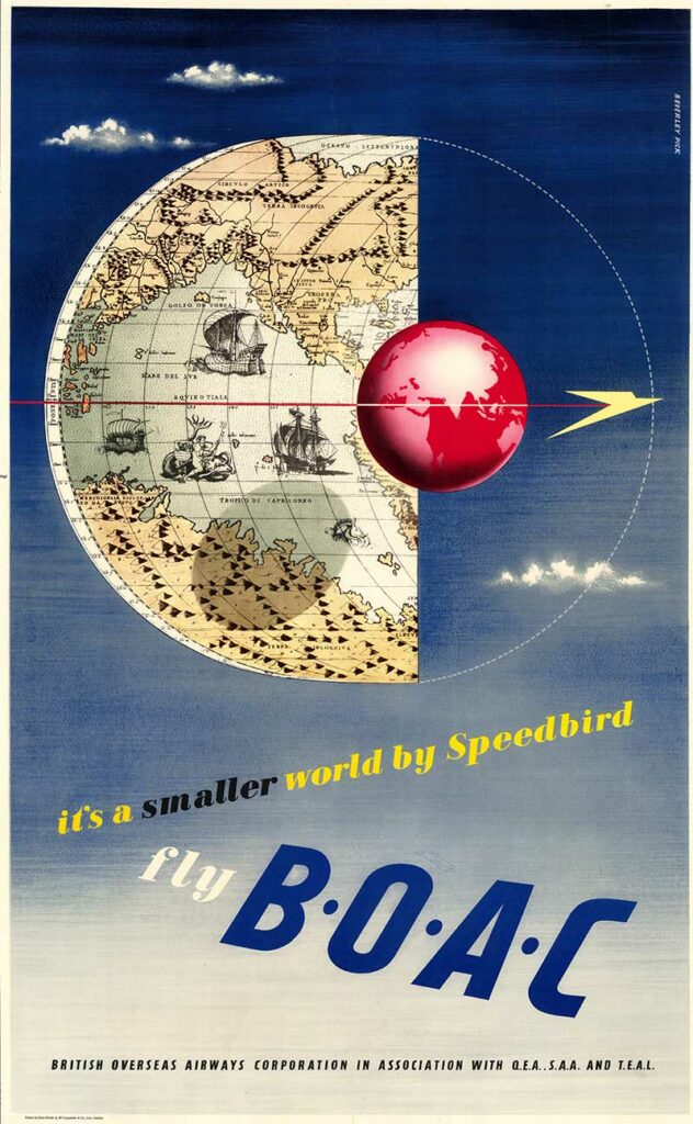 BOAC Vintage Airline Poster Map