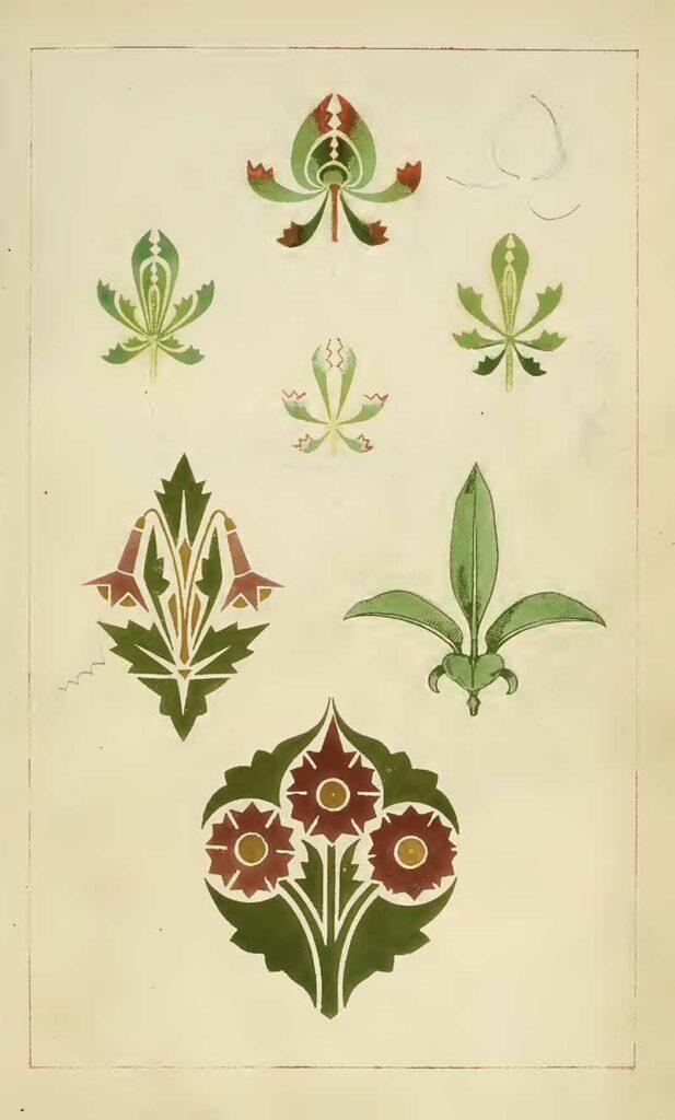 Christopher Dresser Green-leaves-buds-foral-design
