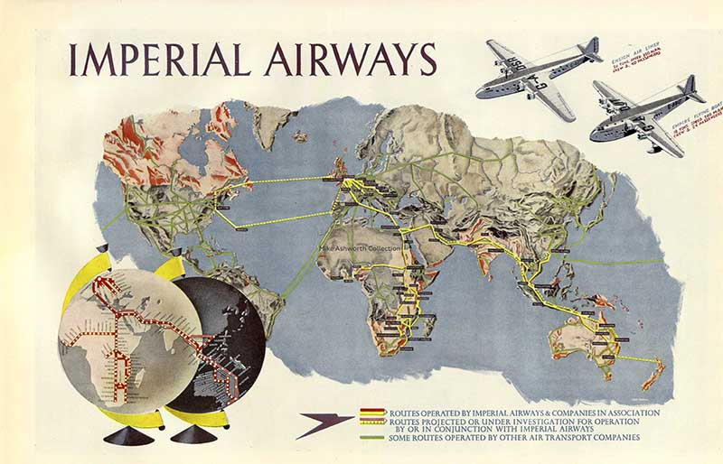 Imperial Airways Route Map Poster