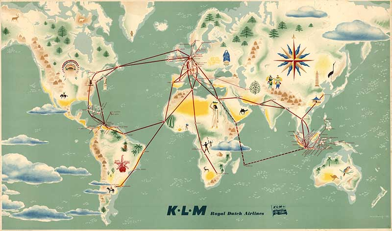 Vintage Airline Route Map KLM