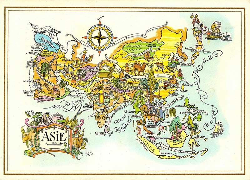 Map of Asia on Pan Am Menu