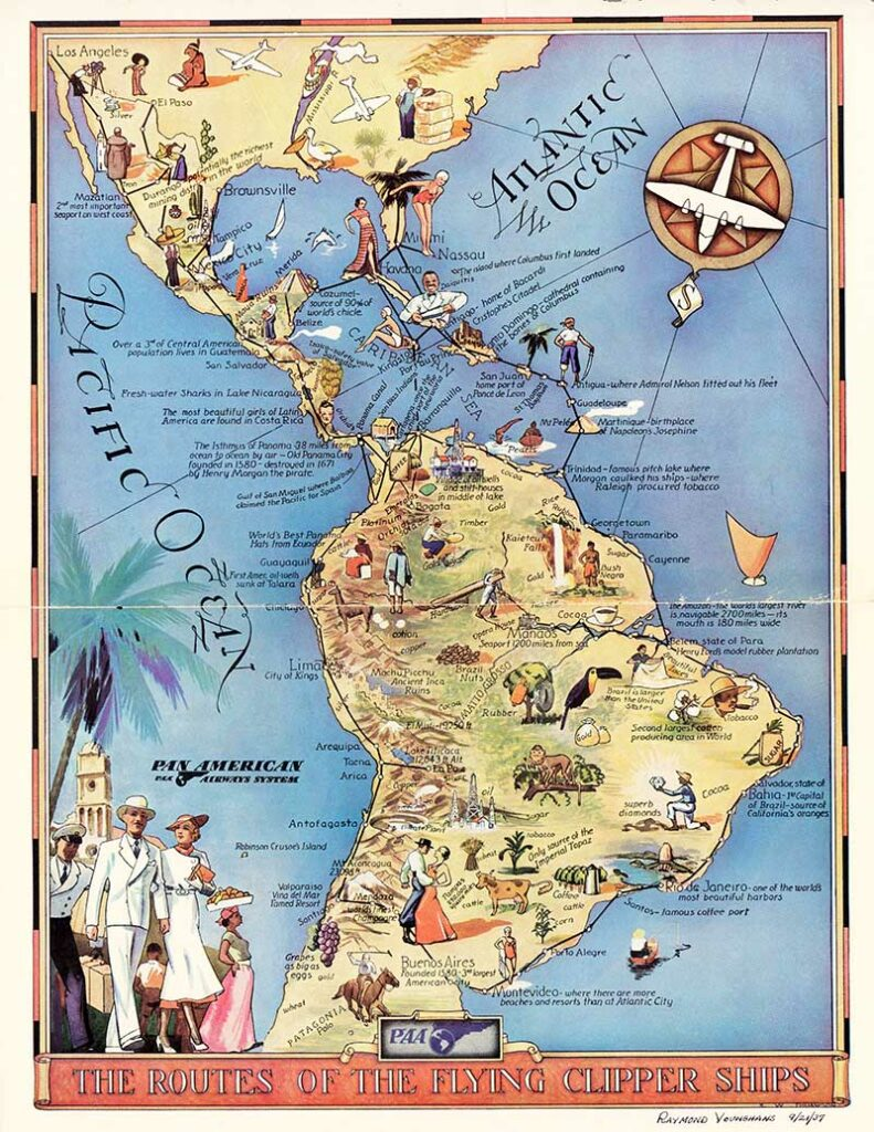 Pan Am Route Map Clipper Ships