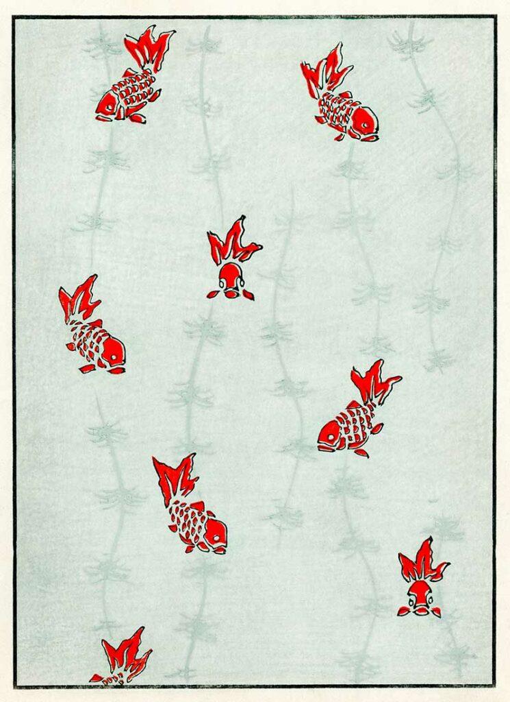 Seamless Goldfish Japanese print