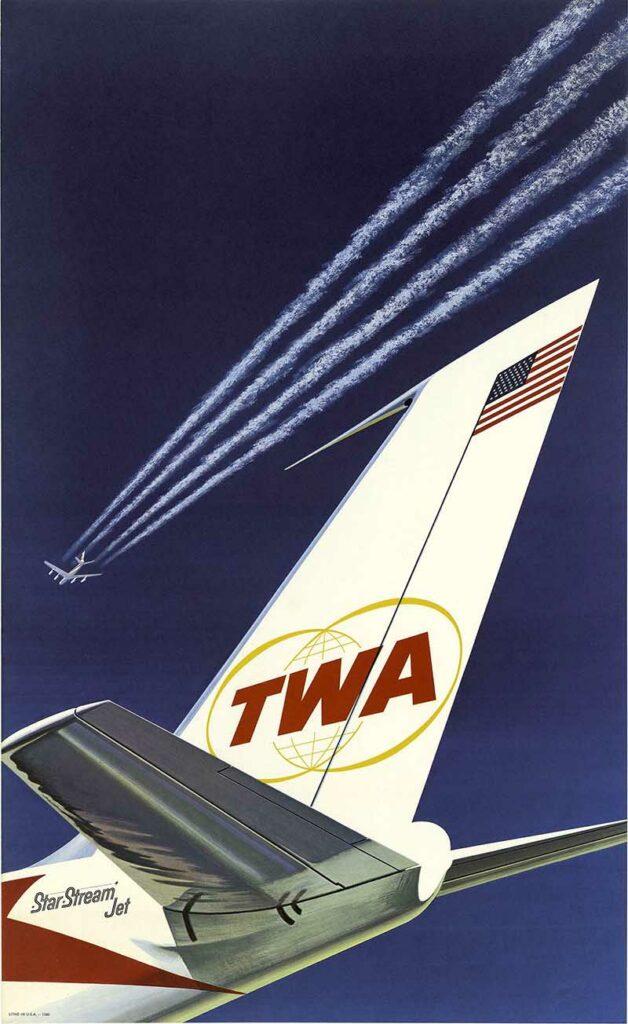 TWA Vintage Airline Poster