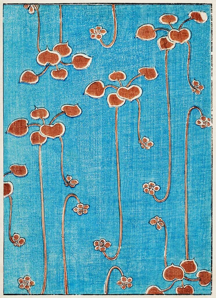 Watanabe Seitei red flowers on Turquoise
