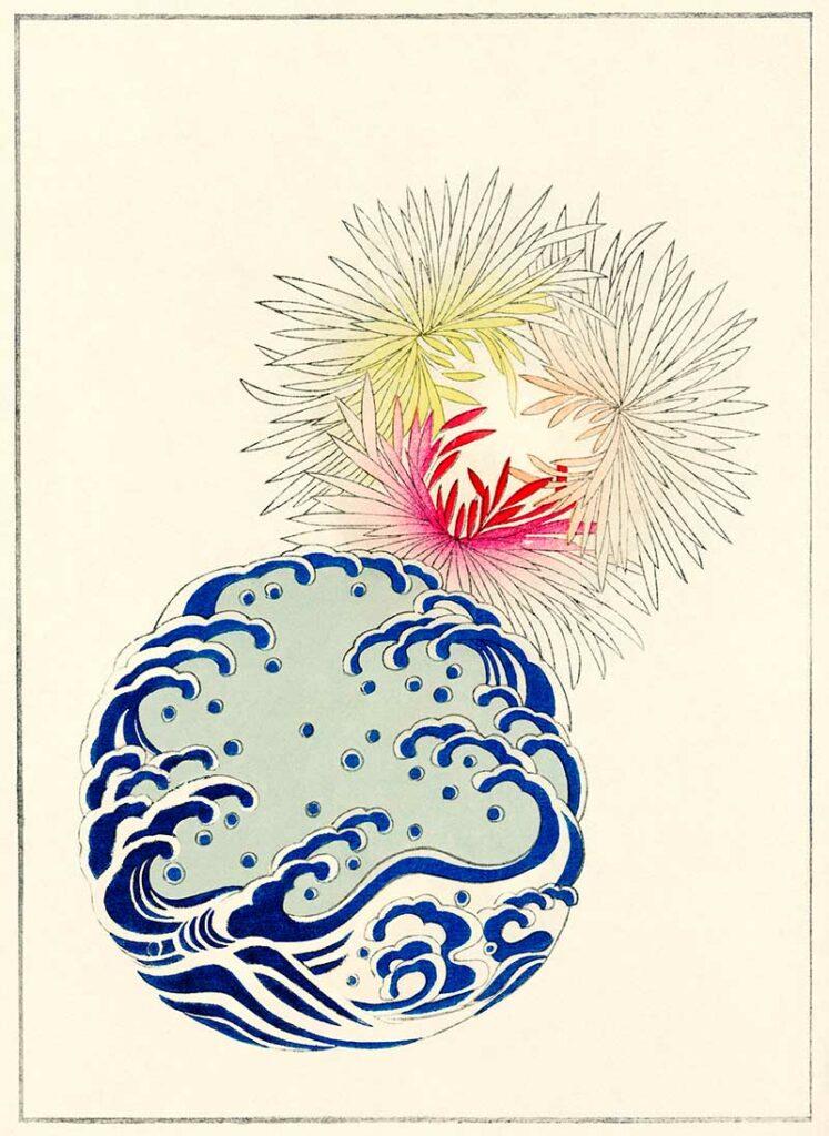 Nature illustration from Bijutsu Sekai (1893-1896) by Watanabe S