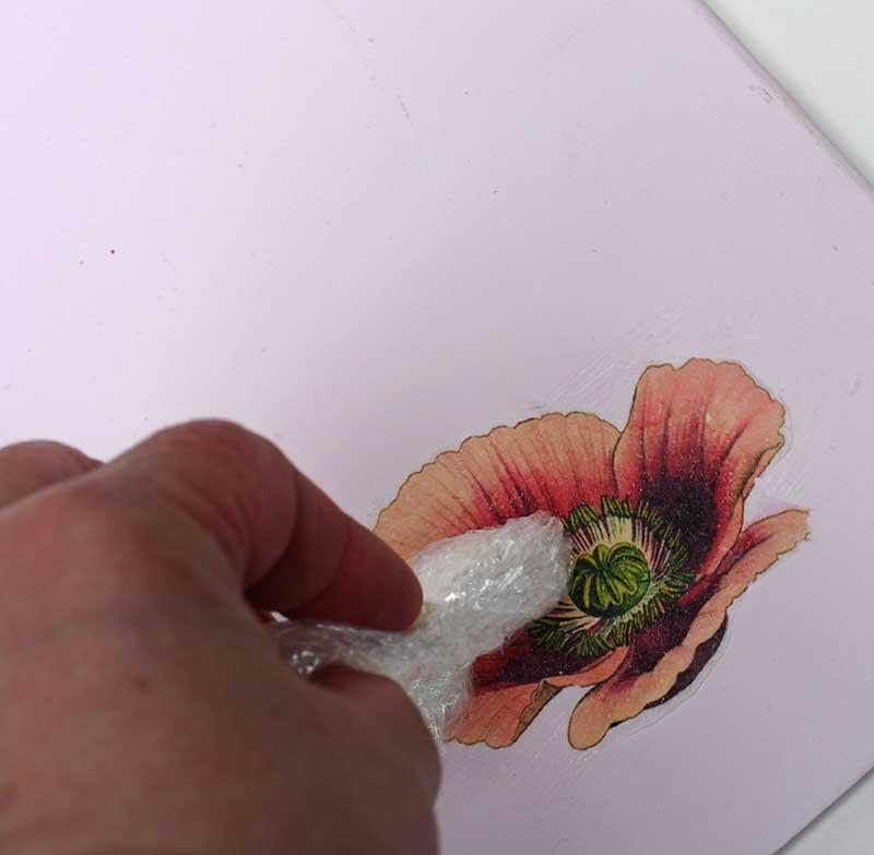 pressing image into glue