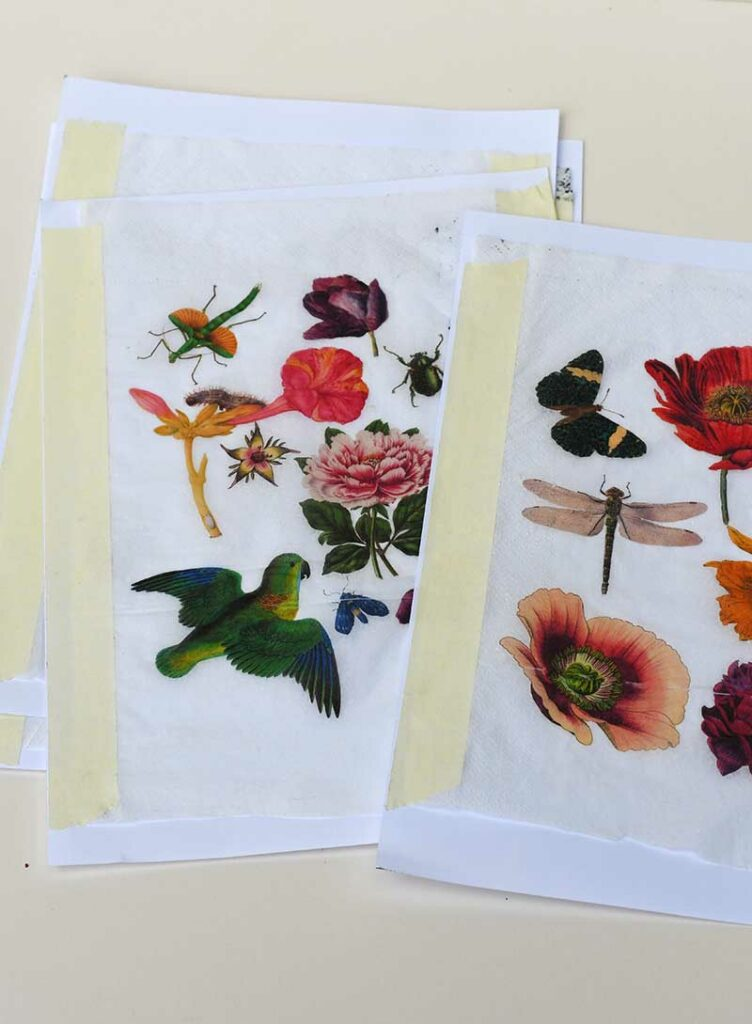 Printed paper napkins for decoupage