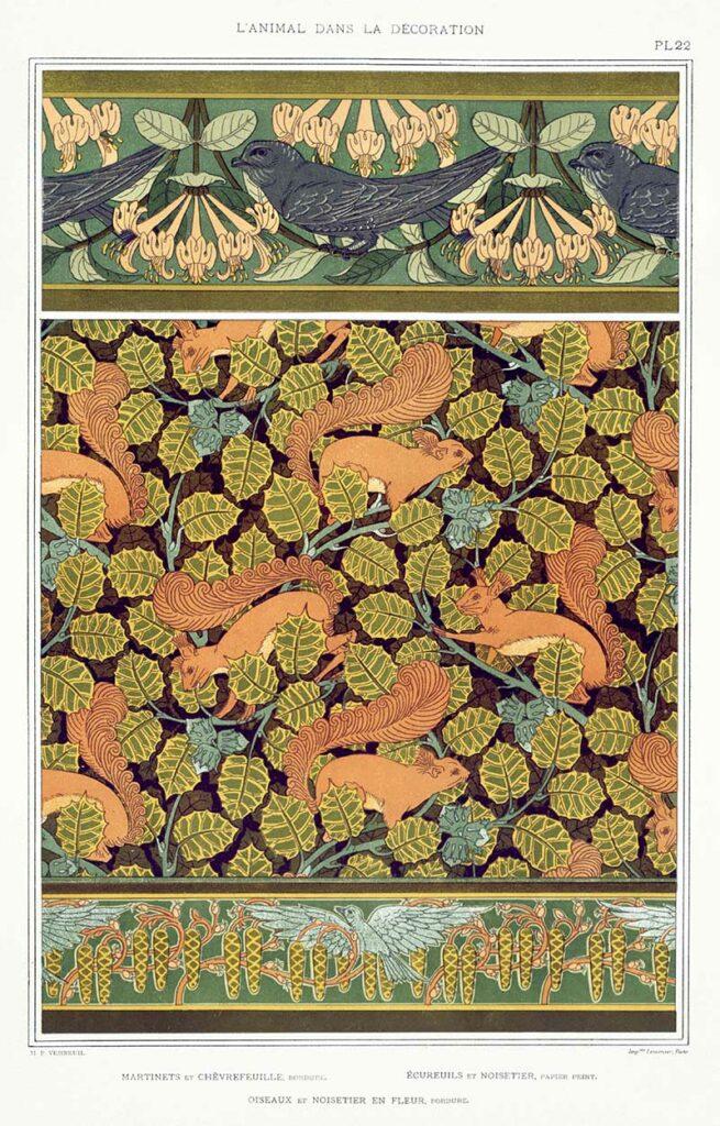 Art nouveau squirrels pattern