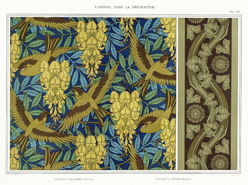 birds and wisteria wallpaper pattern