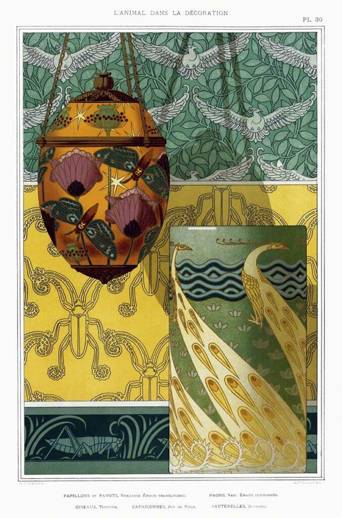 Art-nouveau-animal-design-butterflies and grasshoppers