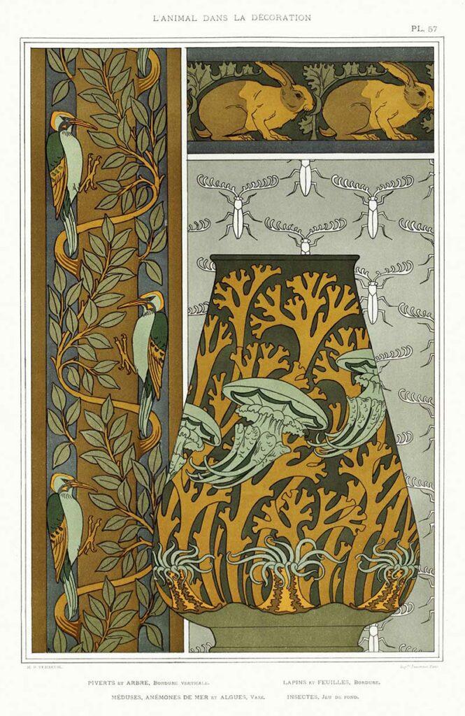 Art-nouveau-animal-design-woodpeckers