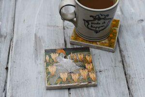 Art nouveau DIY tile coasters