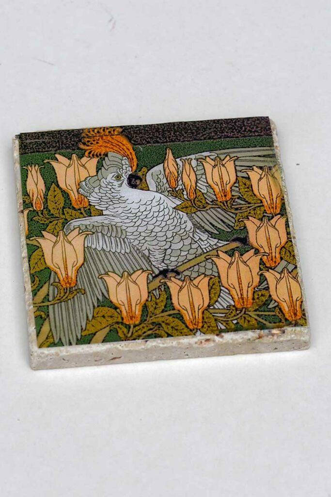 Cockatoo print DIY tile coaster