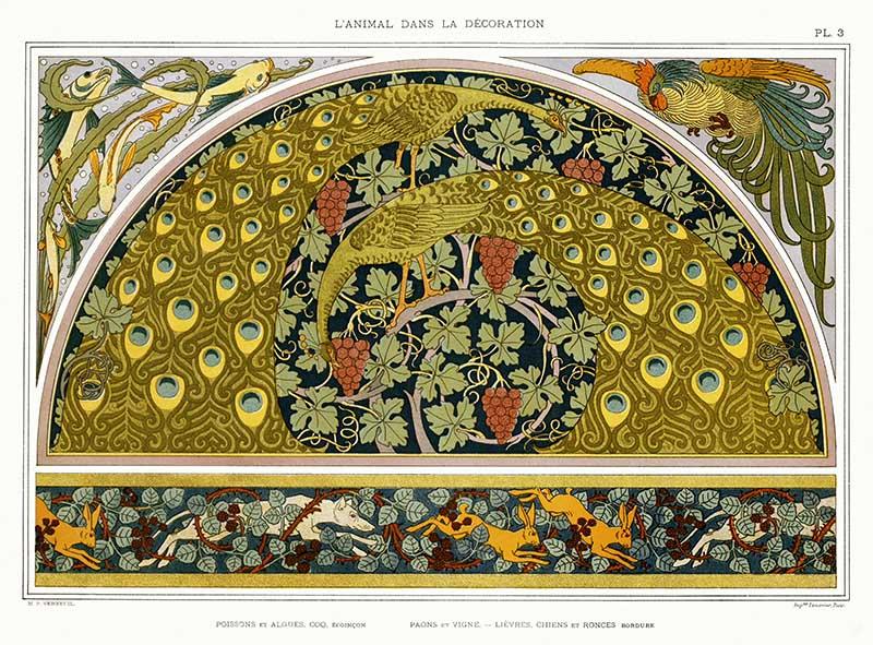 Art Nouveau pattern fish peacocks