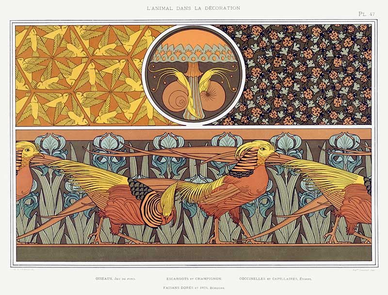 Golden-pheasant-art-nouveau-pattern